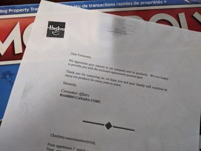 Letter I got from Hasbro regarding missing components in D&D Adventure Begins