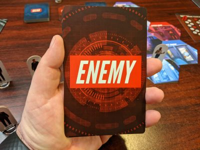 An oddly oversized Enemy card from the modern dungeon crawling board game Techlandia