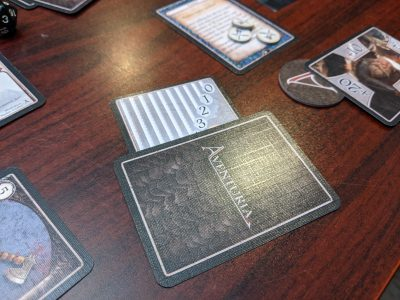 The health tracking cards from Aventuria a non-collectible card game.