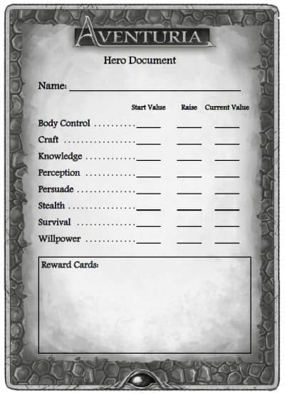 The Hero Document is used to track progression in the Aventuria Adventure Card Game