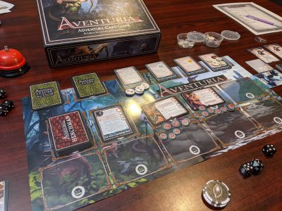Set up for a combat in Aventuria Adventure Card Game