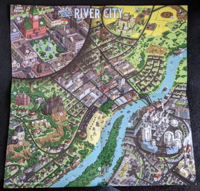 The great River City fold out map from Magical Kitties Save The Day