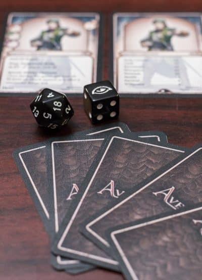 Special Dice and Cards from Aventuria Adventure Card Game