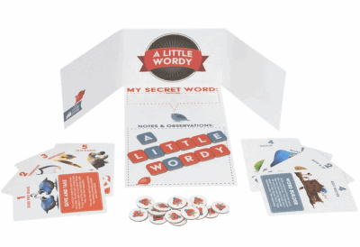 A render of the board game A Little Wordy from Exploding Kittens