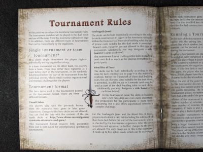 Aventuria: Arsenal of Heroes features tournament rules for the Aventuria Adventure Card Game