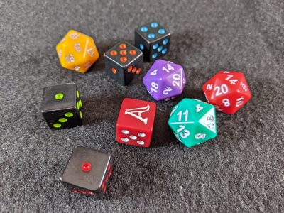 All of the new dice you get with Aventuria: Arsenal of Heroes