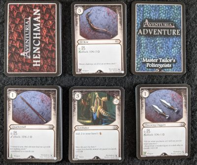The six different decks of cards you get with Master Tailors Poltergeists for Aventuria