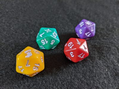 Custom d20 dice for Aventuria included with Arsenal of Heroes