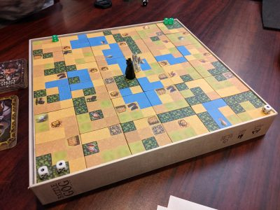 Set up for a two player game of Battle of GOG