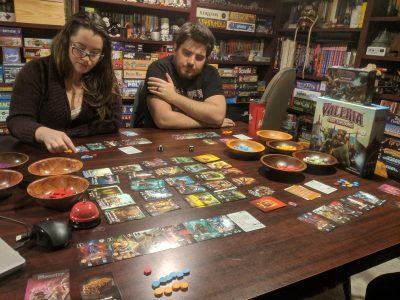 Playing the fantasy engine building board game Valeria Card Kingdoms
