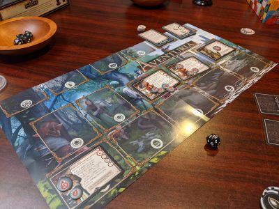 Set up to play the short adventure in The Master Tailors Poltergeist for Aventuria The Adventure Card Game