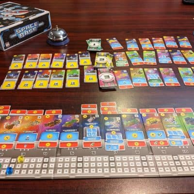 Your player board can get very busy in Space Base card game.