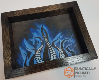 Blue Tentacles Handmade Oak Wood Leather EDC Valet Dice Tray from Fanatically Inclined