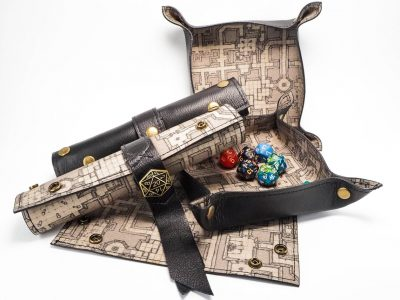 Roll-up style dice trays.