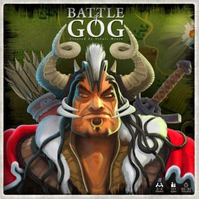 The box cover for Battle of GOG a biblically themed wargame.
