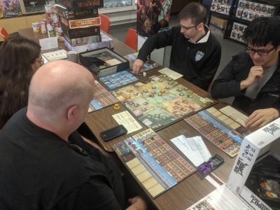 Competitive board game tournament at the FLGS.