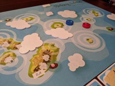 The start of a game of Flicking Finches using the clouds.