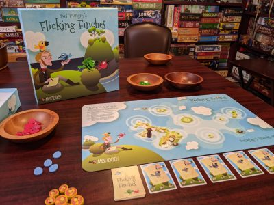 Flicking Finches all set up and ready to play.