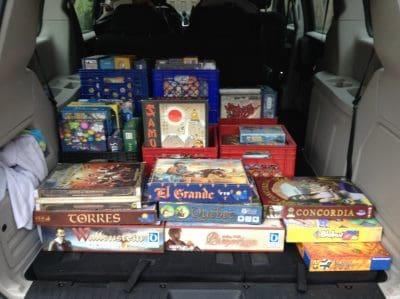 Full trunk full of games to play at the Board Game Blitz Tournament.