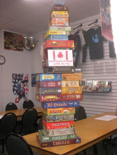 Tower of board games that we played during the Great Canadian Board Game Blitz tournament.