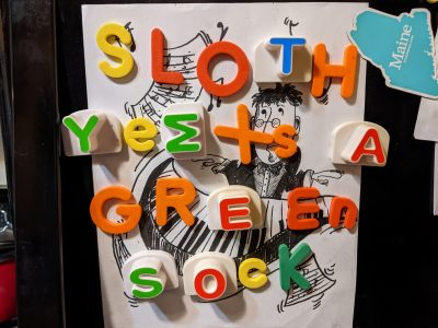 SIlly fridge magnets game we've been playing with the kids.