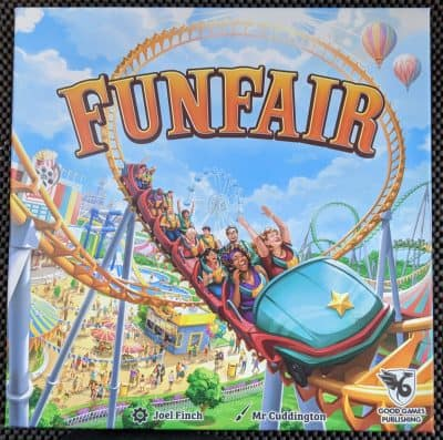 The box for Funfair, a lighter easier to play and learn version of Unfair.