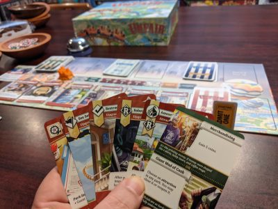 A sample hand of cards from a game of Unfair