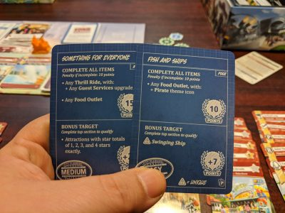 A couple of blueprint cards from Unfair