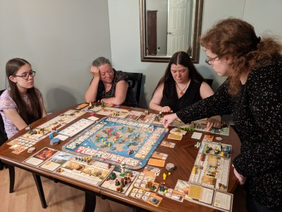 A five player game of Tapestry from Stonemaier Games.