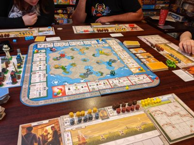 The start of a four player game of Tapestry.