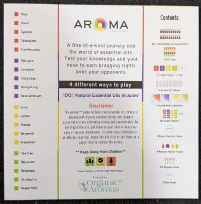 A component list and disclaimer that comes with Aroma