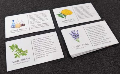 There is a card for every scent in Aroma