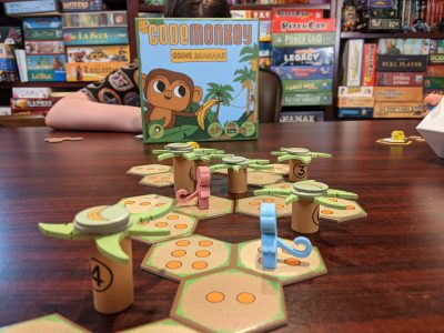 The board game CodeMonkeys Going Bananas set up and ready to play