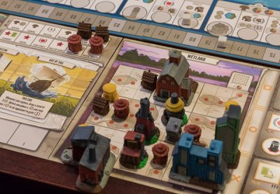 A completed capital city in a game of tapestry.