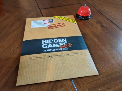 My copy of Hidden Games Crime Scene The Maplebrooke Case before we opened it.