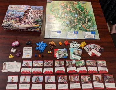 What I got in the box with my prototype copy of The Red Burnoose