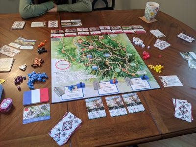 The start of a four player game of The Red Burnoose Algeria 1857