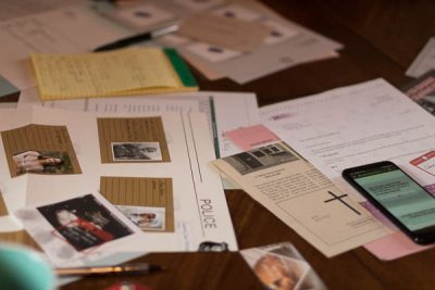 The poster board and evidence from Hidden Games Crime Scene Case One