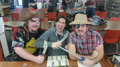 Gamers at a Pirate themed game night.