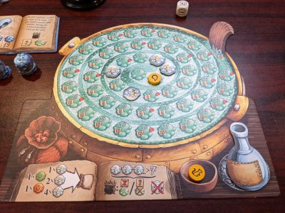 An exploded pot with only cherry bombs in a game of The Quacks of Quedlinburg