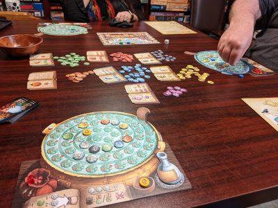 Mid way through a three player game of The Quacks of Quedlinburg